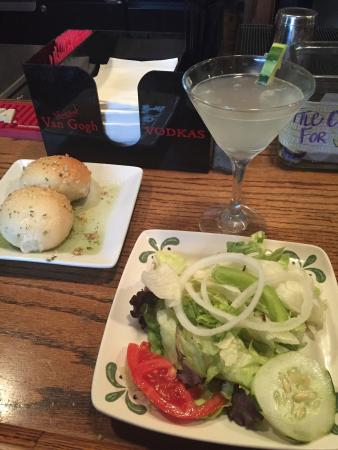 The Olive Tree Restaurant : Salad, bread & cucumber martini to start then spicy seafood pasta for supper. Scallops, shrimp &