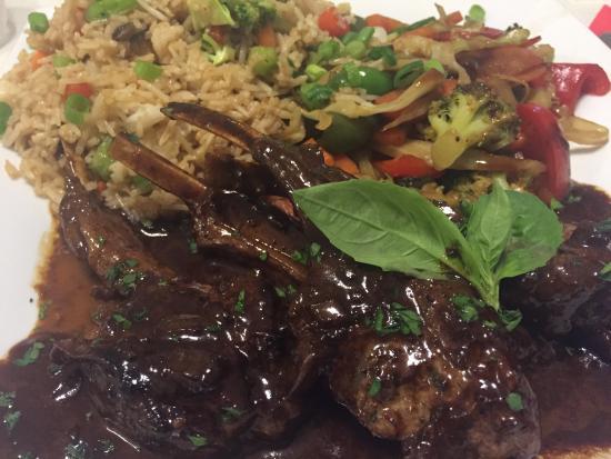 Cap Estate, Saint Lucia: Lamb chops, fried rice and wok veggies 😋 #delish