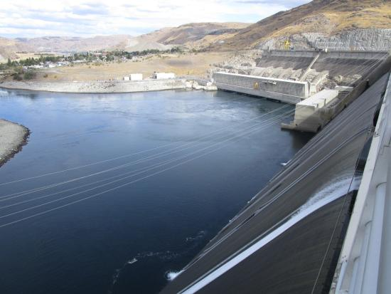 Coulee Dam, WA: View toward downstream; sloped face of dam on right