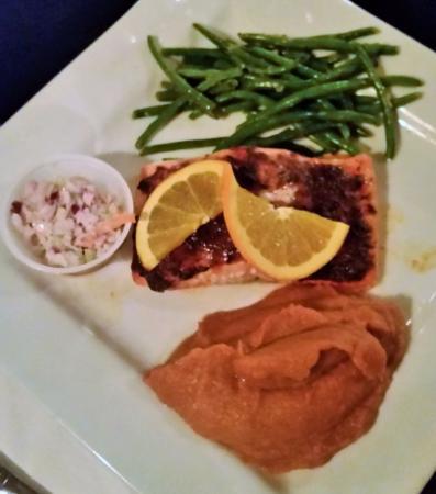 Chestertown, NY: Smoked Orange Rubbed Salmon , smoked sweet potato puree, green beans, & cold slaw.