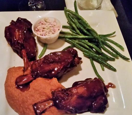 Chestertown, NY: Mesquite -Demi Pork Shanks w/smoked sweet potato puree, green beans, & cold slaw.