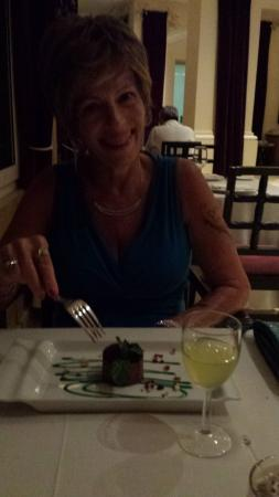 Maryanne having her chocolate dessert at Lucca
