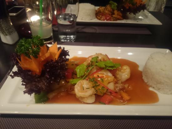 Red Pepper: Crevettes et légumes à l'aigre doux