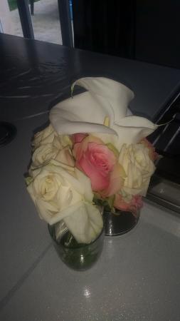 bouquet de fleur offert par le restaurant pour mon anniversaire