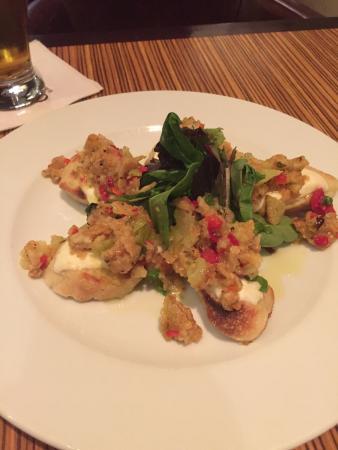 Beautifully Plated food Bruschetta W/Fried Green Tomatoes