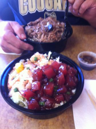 Hawaiian Poke Bowl: Large poke bowl with two choices and large Kahlua Pork bowl.  A ton of food for the price!