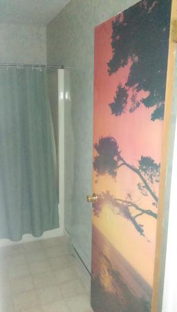Four Seasons Motel: Wallpapered bathroom door, covering up what?
