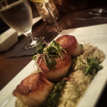 Seared Scallops with mushroom risotto and grilled asparagus!