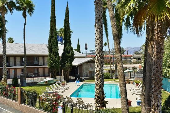 Americas Best Value Inn : Pool with palm trees and front building