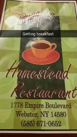 Billy's Homestead: menu cover to prove accuracy