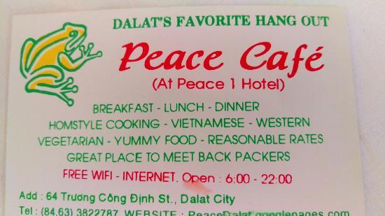 Tu Anh's Peace Cafe: Визиточка