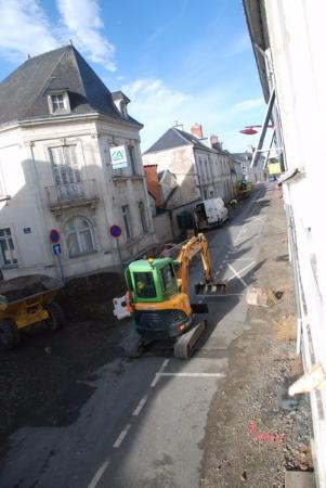 Vernantes, France : The constant roadworks below our window
