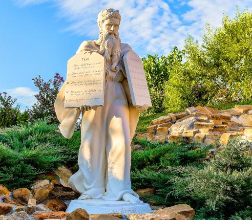 Weatherford, TX: Moses Statue in Majestic Statue Garden at Capernaum Village