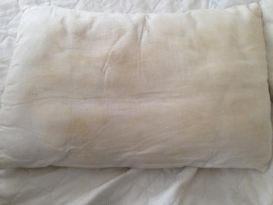 Sweat stains of pillows. Cases covered