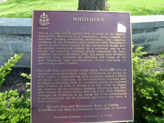 Whitehern Historic House and Garden: Heritage plaque