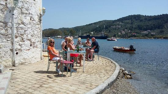 Sergio's Apartments: Lovely sergios apartment's in koukaranios skiathos  and dining at the Big Bad wolf.  Sailing on