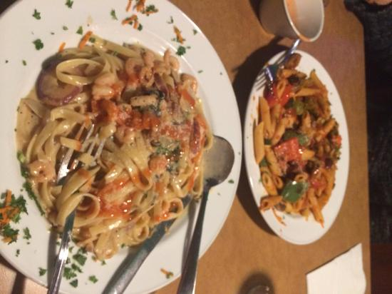 Sita's Spag & Suds: The plate closest is the Red Thai Shrimp & Cream