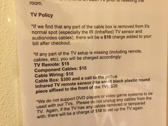 Road Star Inn - Madison : TV policy