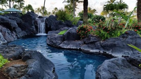 Waterfall along the lazy river picture of grand hyatt for A touch of elegance salon kauai
