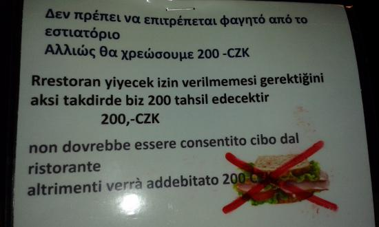 Expo: funny warning note at the breakfast ( errors in any language )