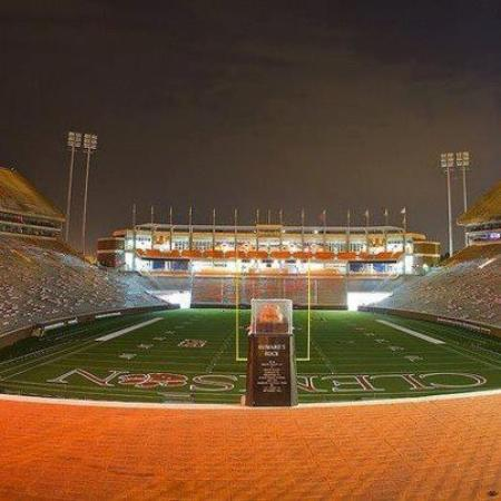 The Walker Course At Clemson University: The Rock and The WEZ West Endzone at Night Clemson Memorial Stadium
