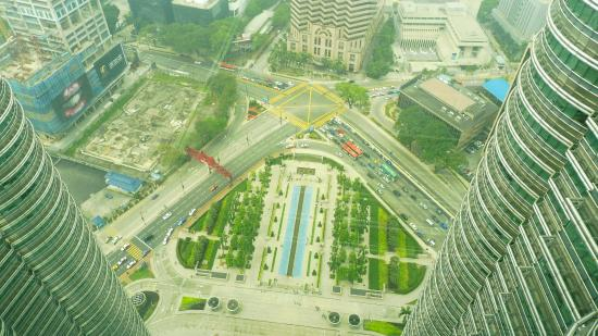 Petronas Twin Towers Downward View From The Skybridge On 41st Floor