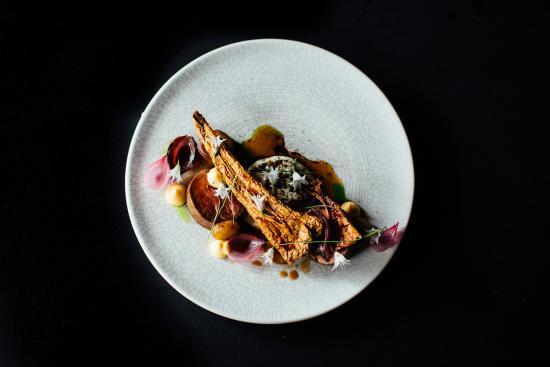 Clooney Restaurant: beef fillet, parsnip, chevre, spring alliums, coffee