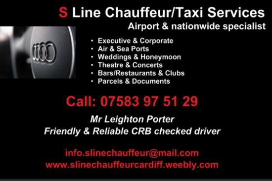 Groom to wedding picture of s line chauffeur cardiff for Chauffeur business cards