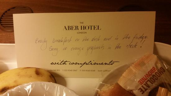 The Aber Hotel: My early breakfast, courtesy of the lovely Daniel