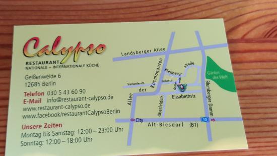 Visitenkarte Bild Von Restaurant Calypso Berlin Tripadvisor