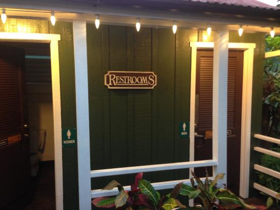 The Garden Island Grille: Themed outbuilding restrooms.