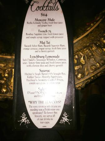 The Back Room: The bar menu