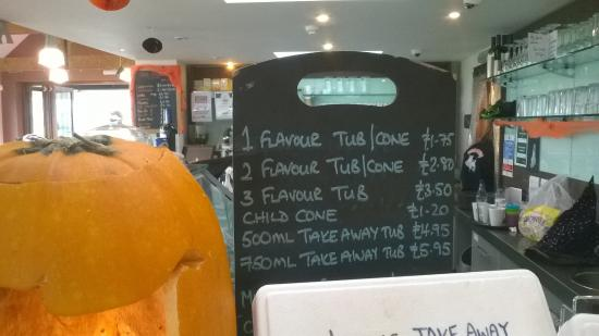 The Rowdey Cow Cafe and Ice Cream Parlour: ice cream price list