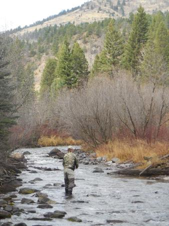 Emigrant, MT: Fishing the Creek across the way with provided gear.