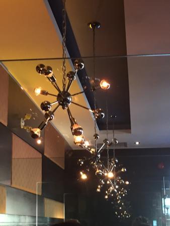 Moxie's Grill & Bar : Cool lighting, Menu, Moxie's Restaurant, Regent Ave, Winnipeg, MB