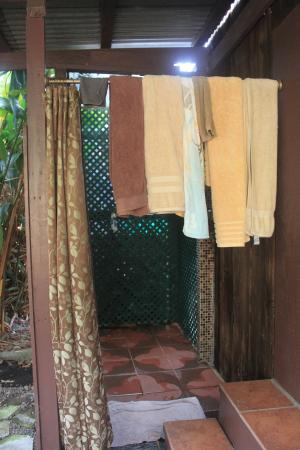 "Pomaika'i ""Lucky"" Farm B&B: Outdoor shower in front of the cabin"