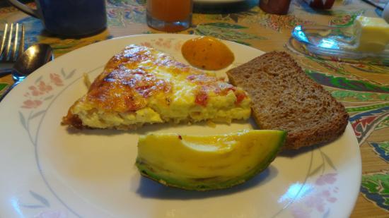 "‪‪Pomaika'i ""Lucky"" Farm B&B‬: Breakfast with fresh avocado and homemade gluten-free bread!‬"