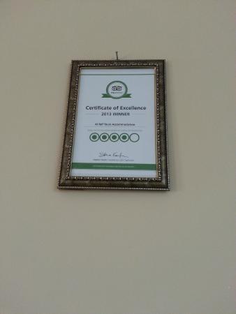 Al Taif Tours Accommodation: Trip Advisor Certificate