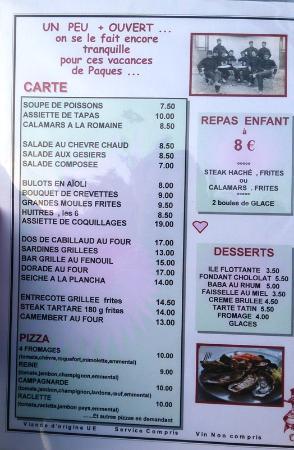 Restaurant Lou Cabanaïre : Меню