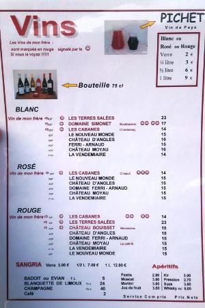 Restaurant Lou Cabanaïre : Меню - вина