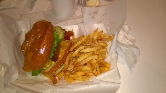 The Burger Place: Small cheeseburger and fries.
