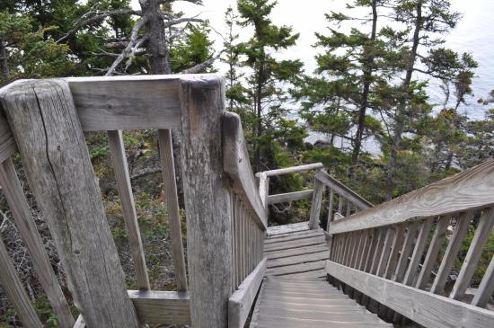 Bass Harbor, ME: Stairs leading to view below lighthouse