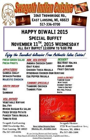 Swagath Indian Cuisine : Special Buffet For Diwali_2015