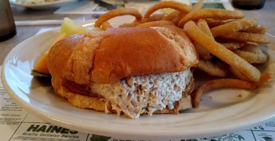 Chesterton, IN: Chickensalad croissant, Onion rings