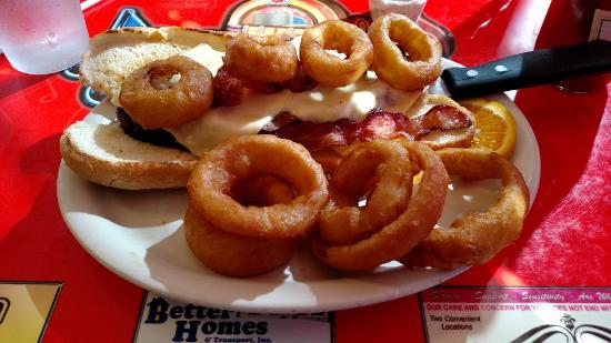 Herkimer, NY: Meatloaf-all-the-way with onion rings