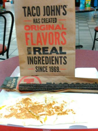 Chicken quesadilla and Oreo churro at Taco Johns, Avoca