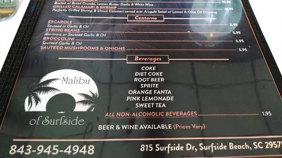 Malibu Restaurant Surfside Beach Menu
