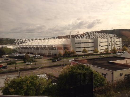 South Wales, UK: Liberty Stadium from the train coming in to Swansea