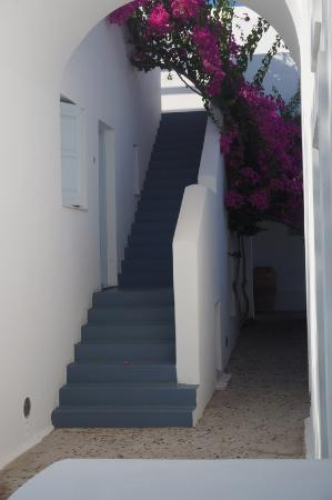 Santorini Kastelli Resort: Entrance to our room - the private terrace was at the end of the stairs