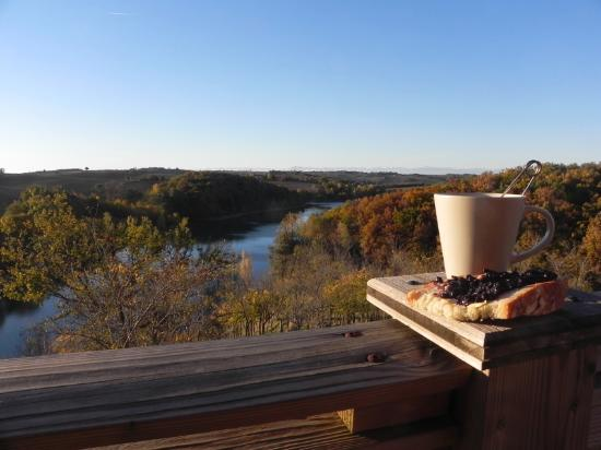 Maurens-Scopont, Francia: Vue de la terrasse, le matin.